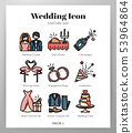 Wedding icons LineColor pack 53964864