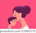 Mom and child kissing for family love concept 53965575
