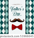 Vintage Fathers Day card with mustache and bow 53966045