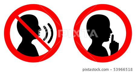 Keep quiet / silent please sign. Crossed person 53966518