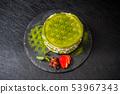녹차 빵 케이크 (밀 크레페) Matcha pancake Japanese food 53967343
