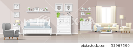 Interior background with bedroom and living room 53967590