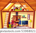 duplex cross section with happy family 53968021