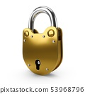 3D Rendering Padlock isolated in white background 53968796