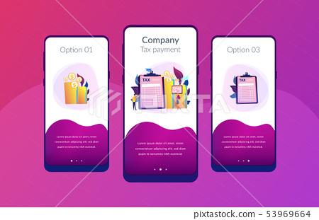 Tax form app interface template. 53969664