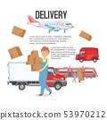 Delivery service background. Man holding boxes banner vector illustration. Delivering packages. Male 53970212