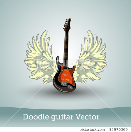 Doodle guitar with wings isolated on white background. Vector 53970369