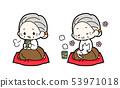 在游廊喝茶的奶奶和猫奶奶的插图素材kz 53971018
