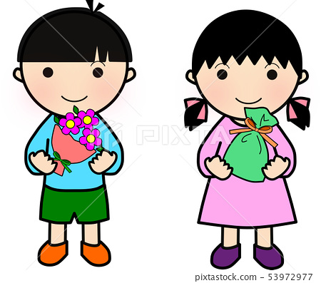 Boy and girl with a present and a bouquet 53972977