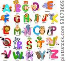 Animals alphabet set on white background 53973665