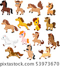 Set of cute cartoon horse isolated 53973670