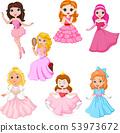Set of cute cartoon princesses isolated  53973672