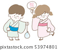 어린이 여름 방학 유카타 여름 축제 53974801