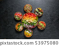 샐러드 Trendy healthy food chopped salad 53975080