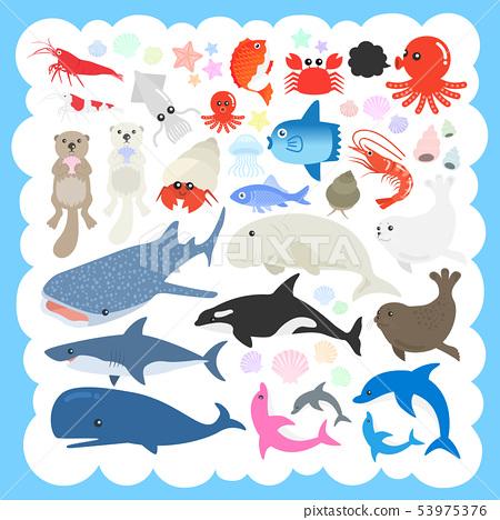 Sea life illustration set 53975376