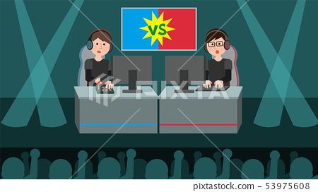 e-sports showdown men venue illustration 53975608