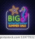 Summer sale banner. Neon sign lettering. 53977632