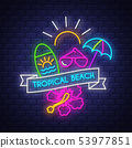 Summer holiday poster. Neon summer banner.  53977851