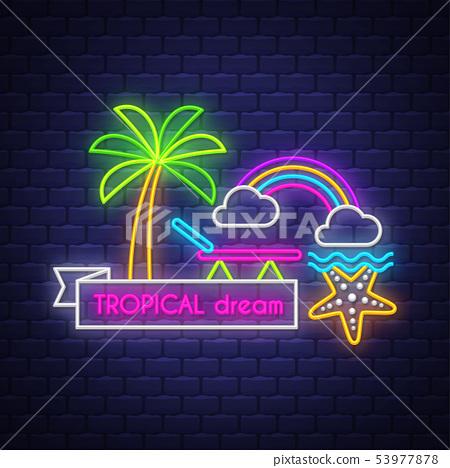 Summer holiday poster. Neon summer banner.  53977878