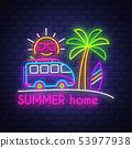 Summer holiday poster. Neon summer banner..  53977938