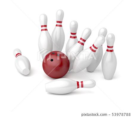 Bowling ball and pins 53978788