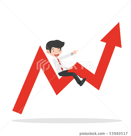 businessman ride on graph  arrow going up 53980517