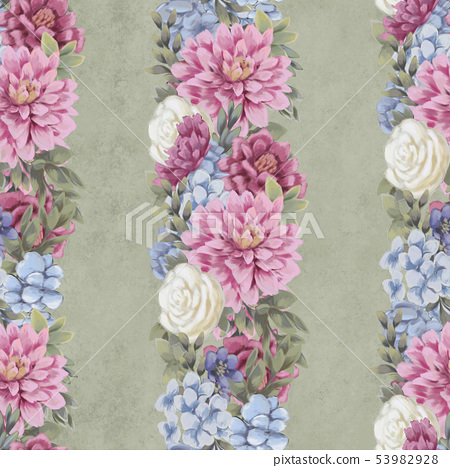 Watercolor floral seamless pattern. Hand painted flowers, greeting card template or wrapping paper 53982928