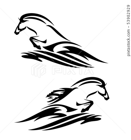 wild sea horse and ocean wave black vector design 53982929