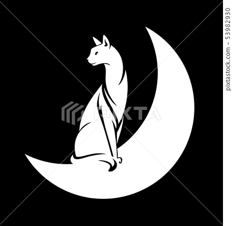 cat and moon black and white vector silhouette 53982930