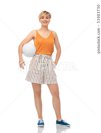 smiling teenage girl with volleyball 53983730