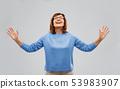 happy senior woman looking up thanks god 53983907