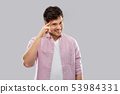 smiling young man pointing finger to his head 53984331