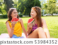 teenage girls eating watermelon at picnic in park 53984352