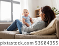 happy mother with little baby son at home 53984355