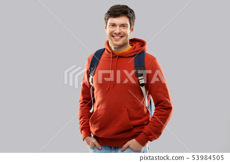 young man or student with school bag or backpack 53984505
