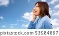 senior woman in glasses calling over sky 53984897