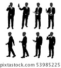 vector set of stand businessman silhouette. 53985225
