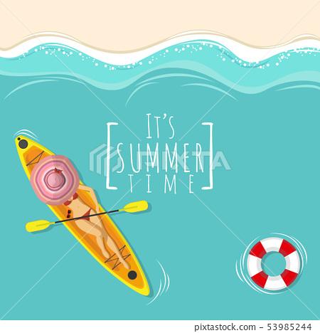 sexy woman in bikini swimming suit on kayak boat 53985244