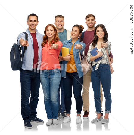 group of students with books and school bags 53985604