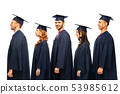 graduates in mortar boards and bachelor gowns 53985612