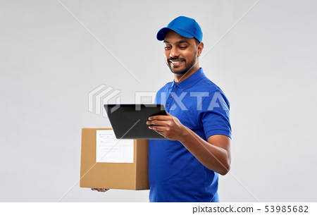 indian delivery man with tablet pc and parcel box 53985682
