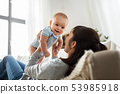 happy mother with little baby son at home 53985918