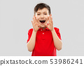 boy in red polo t-shirt shouting or calling 53986241