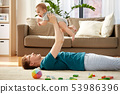 happy father with little baby son playing at home 53986396