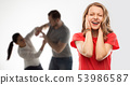 girl covering ears over her parents having fight 53986587