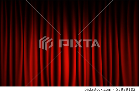 Red curtain stage concert show background. 53989182