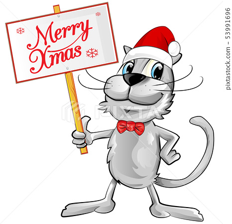 cat Santa Claus with merry christmas text. 53991696