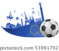european flag with soccer ball and monument symbol 53991702