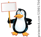 pinguin character cartoon with signboard 53991704
