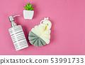 Sponge shower and ceramic pump bottle for liquid 53991733